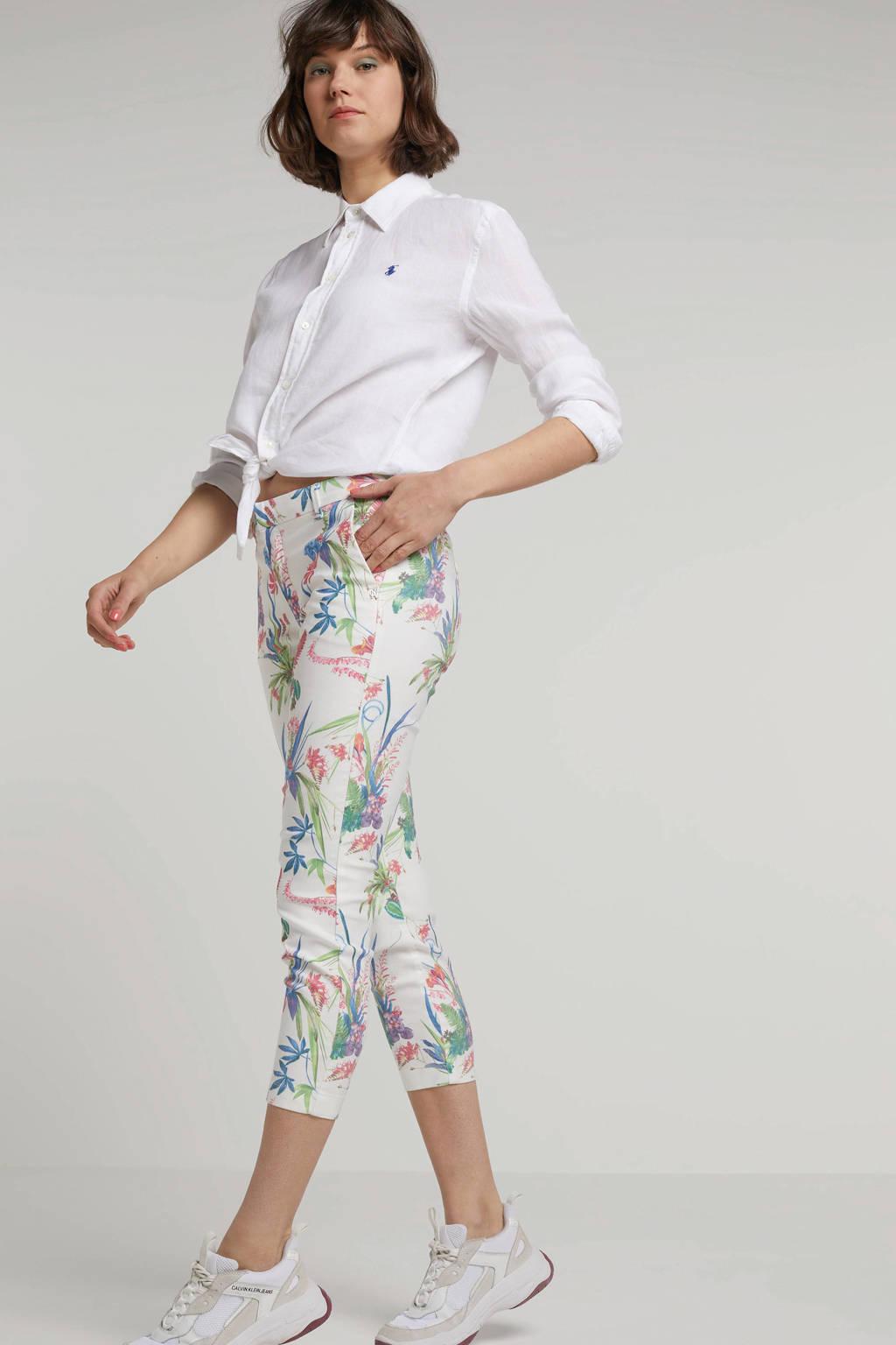 NickJean Sandy gebloemde broek, Wit/Roze/Groen/Blauw