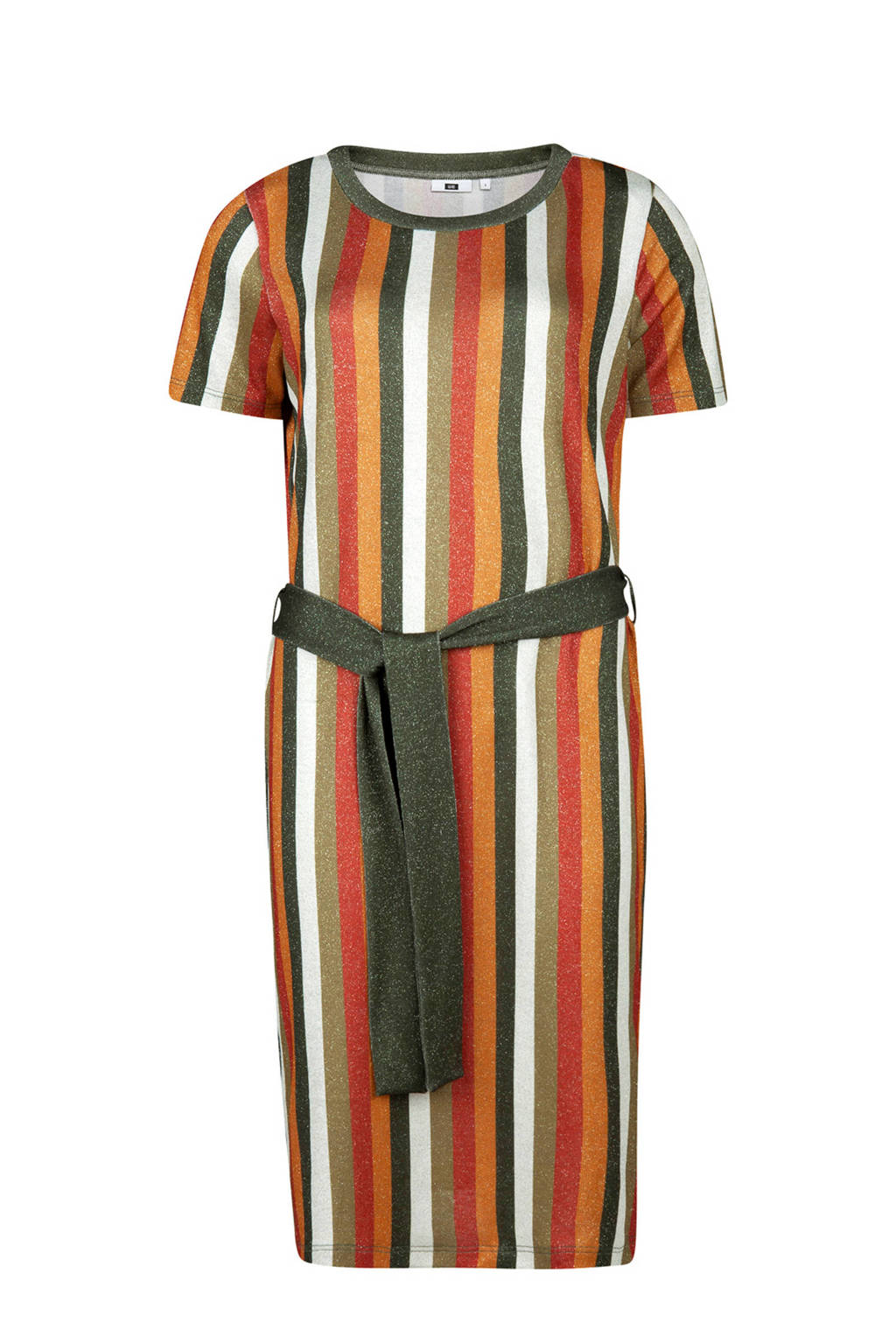 WE Fashion gestreepte jurk, Groen/oker