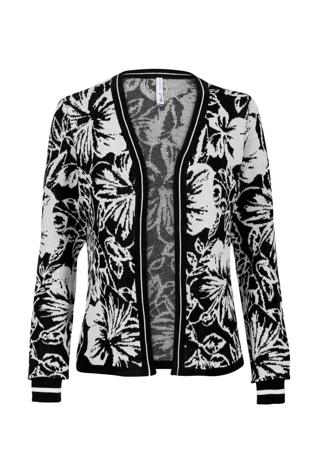 Miss Etam Regulier vest met bloemen zwart, Zwart/wit