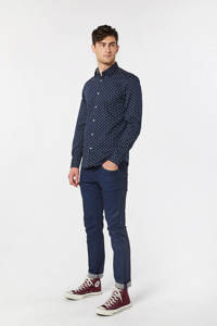 WE Fashion slim fit overhemd met all over print donkerblauw/wit, Donkerblauw/wit