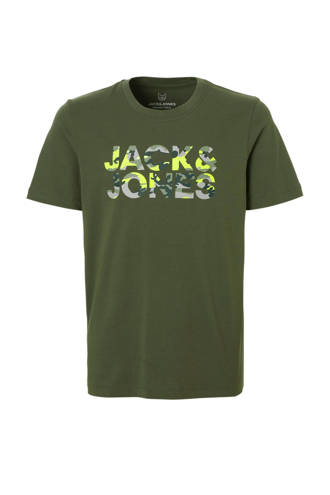 Junior T-shirt met camouflage tekstprint legergroen