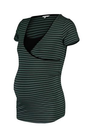 gestreepte zwangerschaps- en voedingstop groen/ zwart