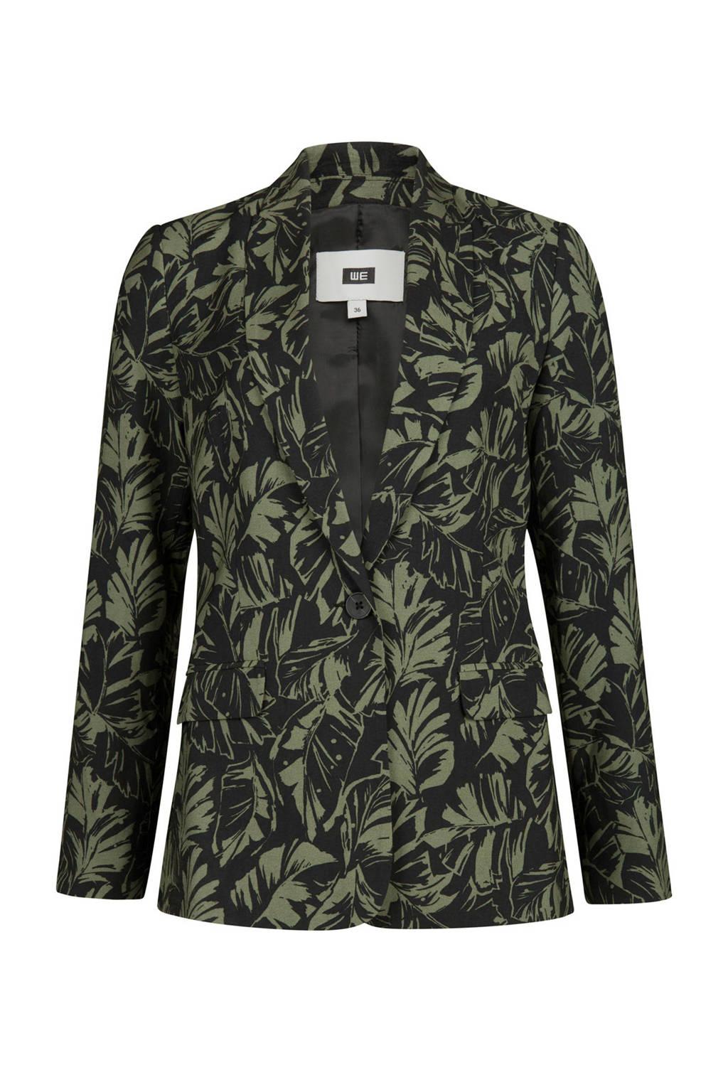 WE Fashion blazer met bladprint, Zwart/groen