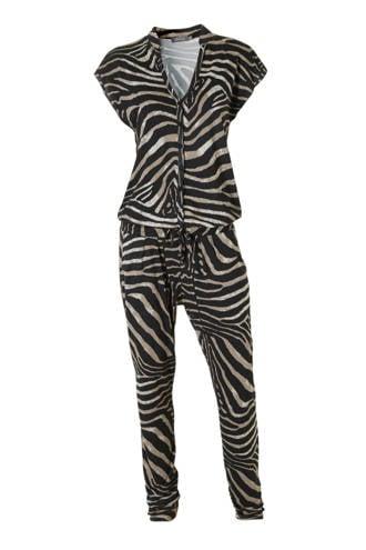 jumpsuit met zebraprint zwart