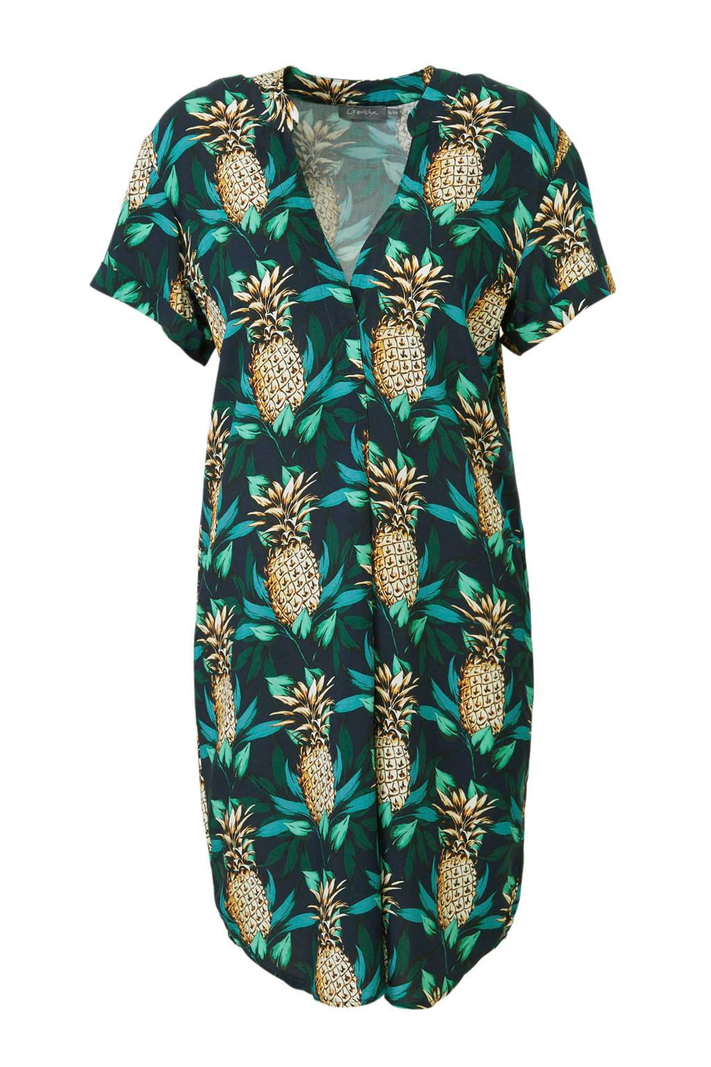 Geisha jurk met blad- en ananasprint groen, Groen