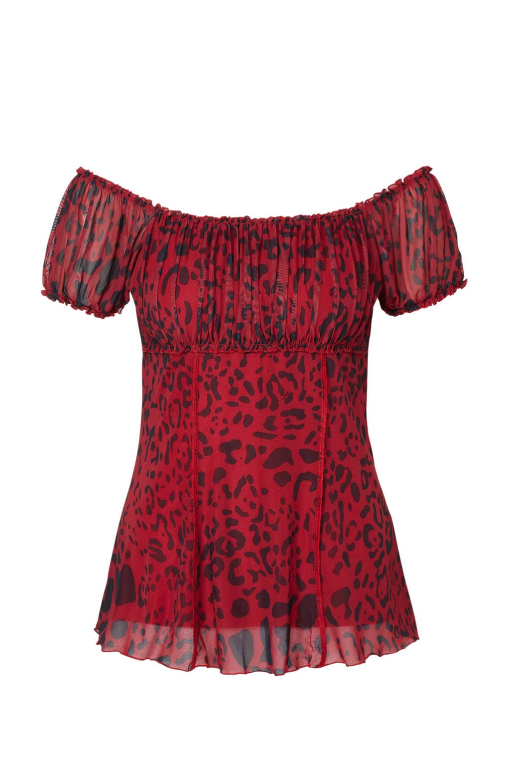 Geisha top met plooien en panterprint rood, Rood