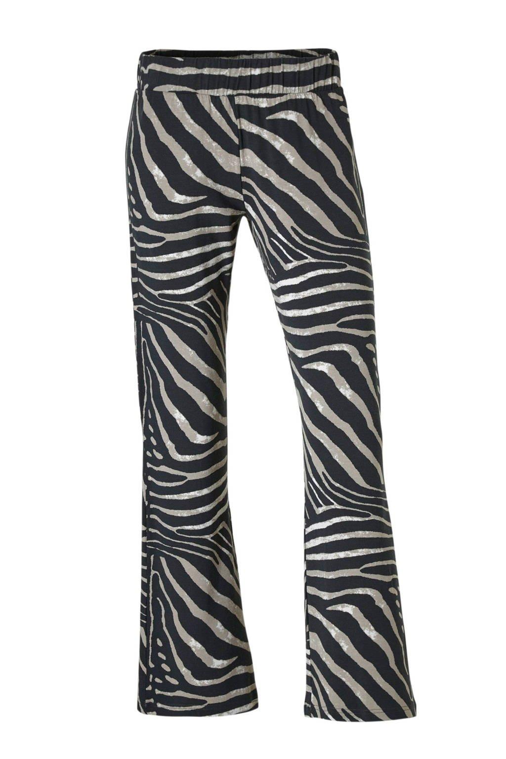 Geisha flared broek met zebraprint, Zwart/bruin