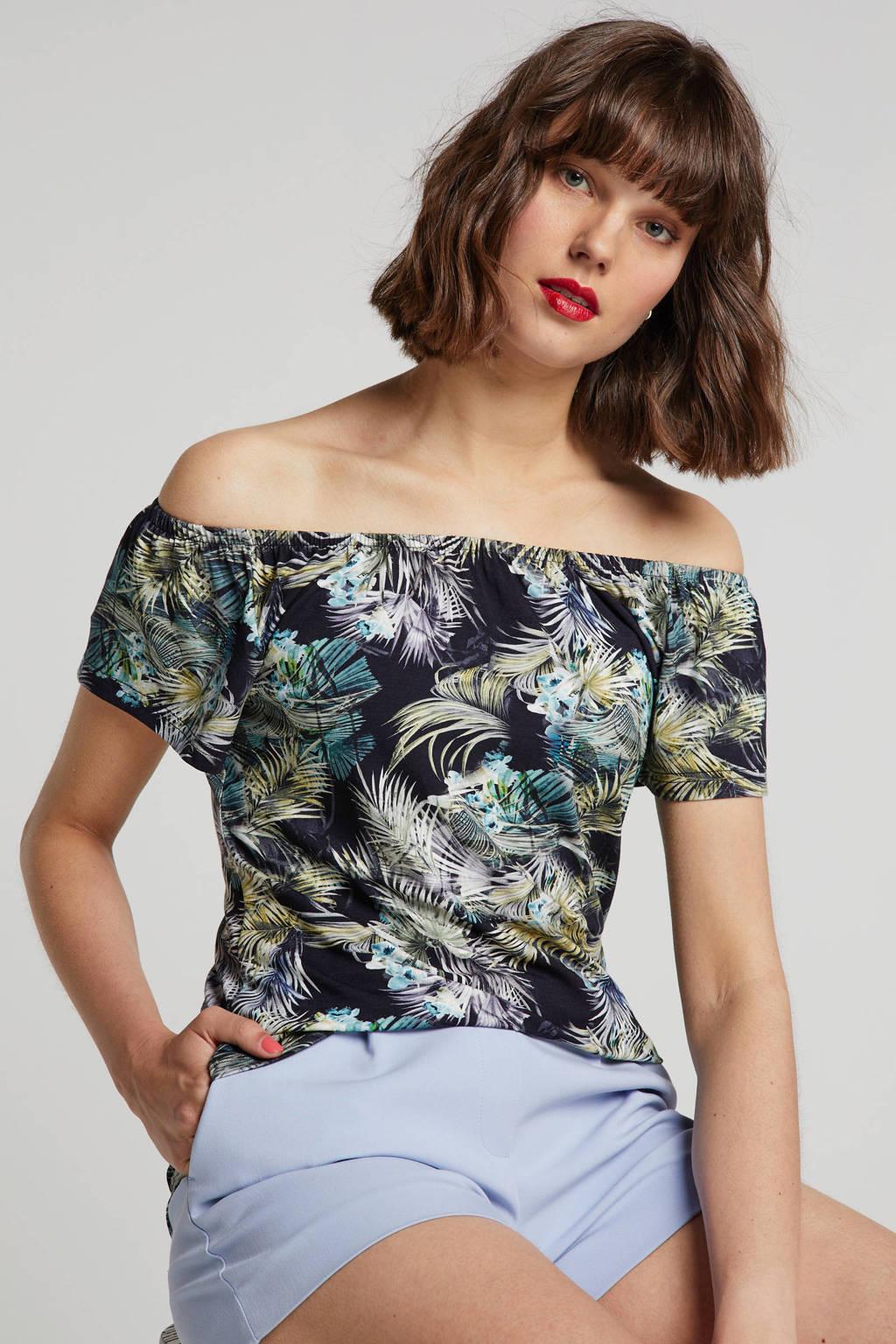 Geisha off shoulder top met bladprint zwart/blauw/groen, Zwart/blauw/groen
