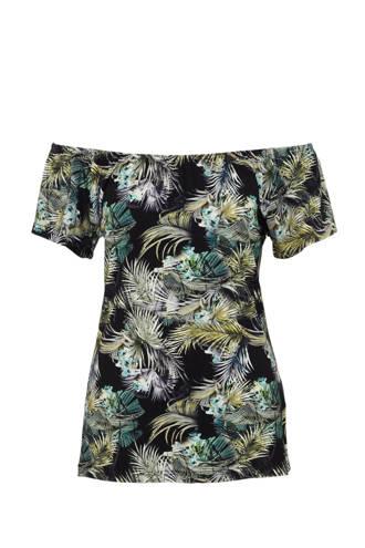 a80dc2a2319 Geisha. off shoulder top met bladprint zwart/blauw/groen