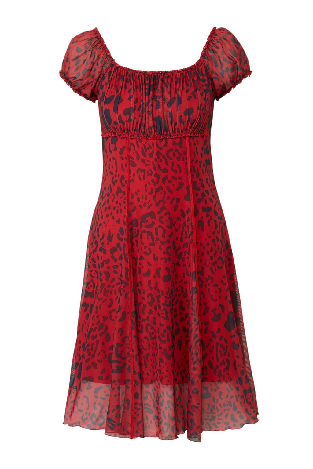 Geisha jurk met panterprint rood, Rood/blauw