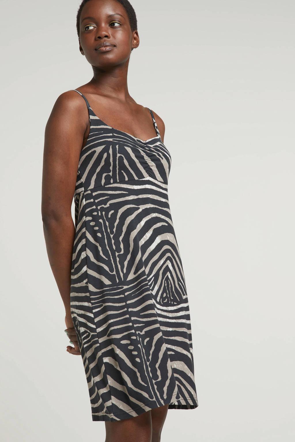 Geisha jurk met zebraprint, Zwart