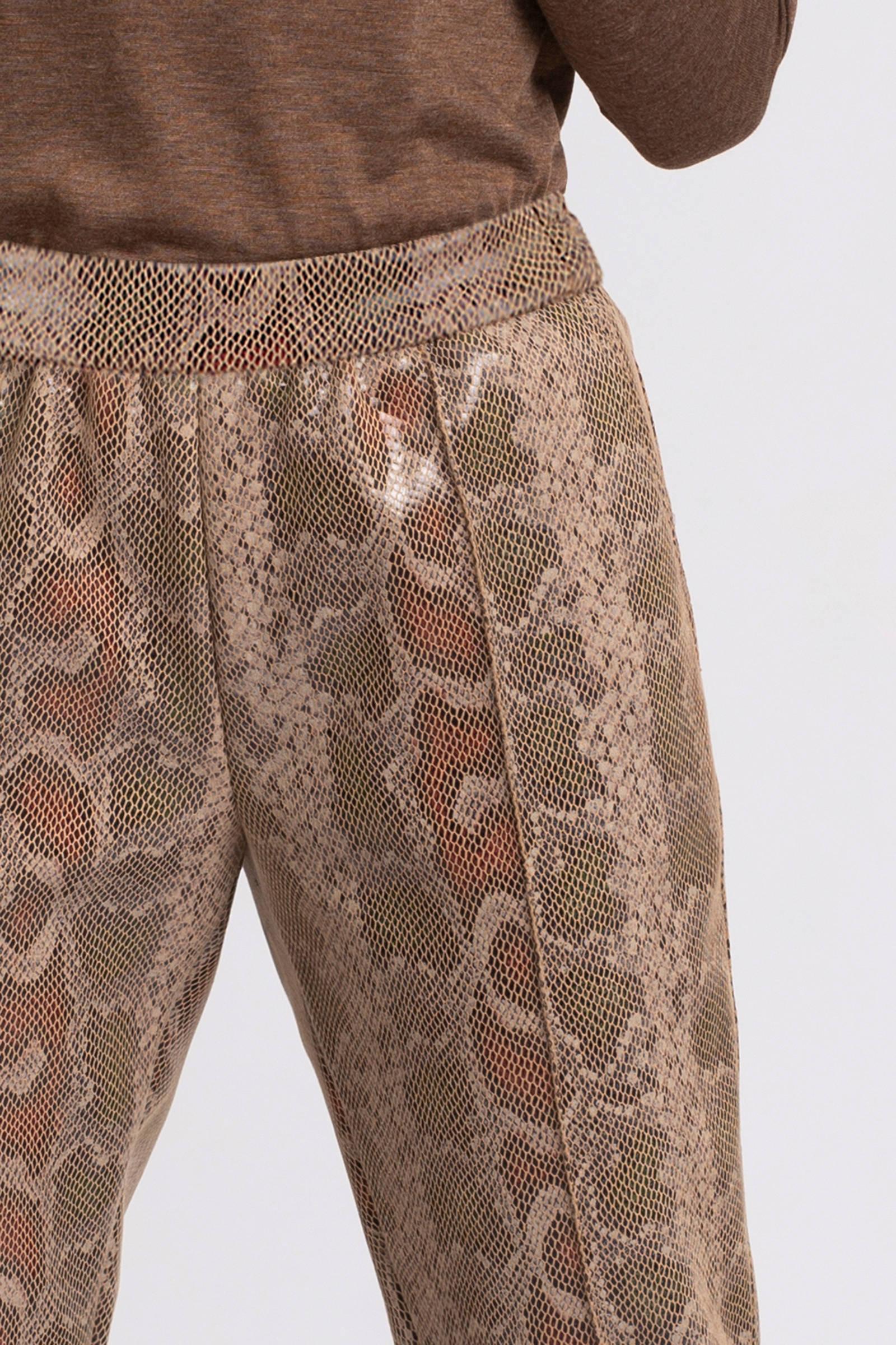 Fifth House imitatieleren regular fit broek met slangenprint