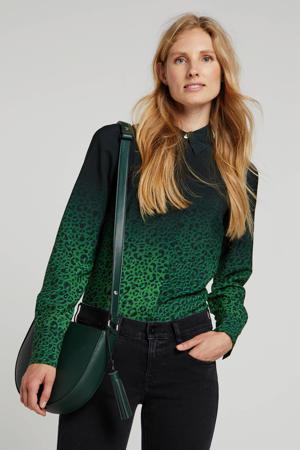 blouse met panterprint groen/zwart