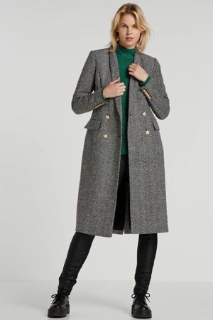 coat Myla met visgraat zwart/ecru
