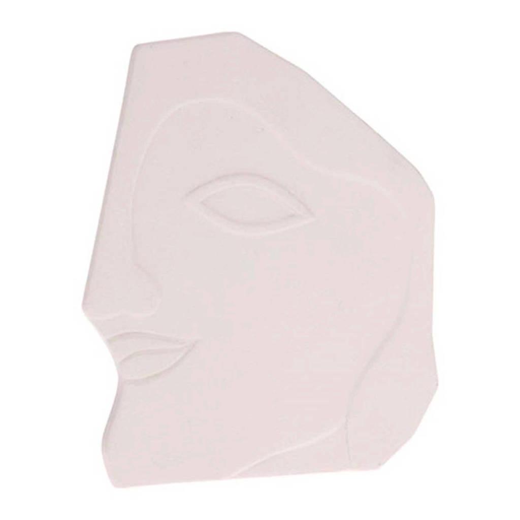 HKliving wandornament gezicht (20x17 cm), Wit