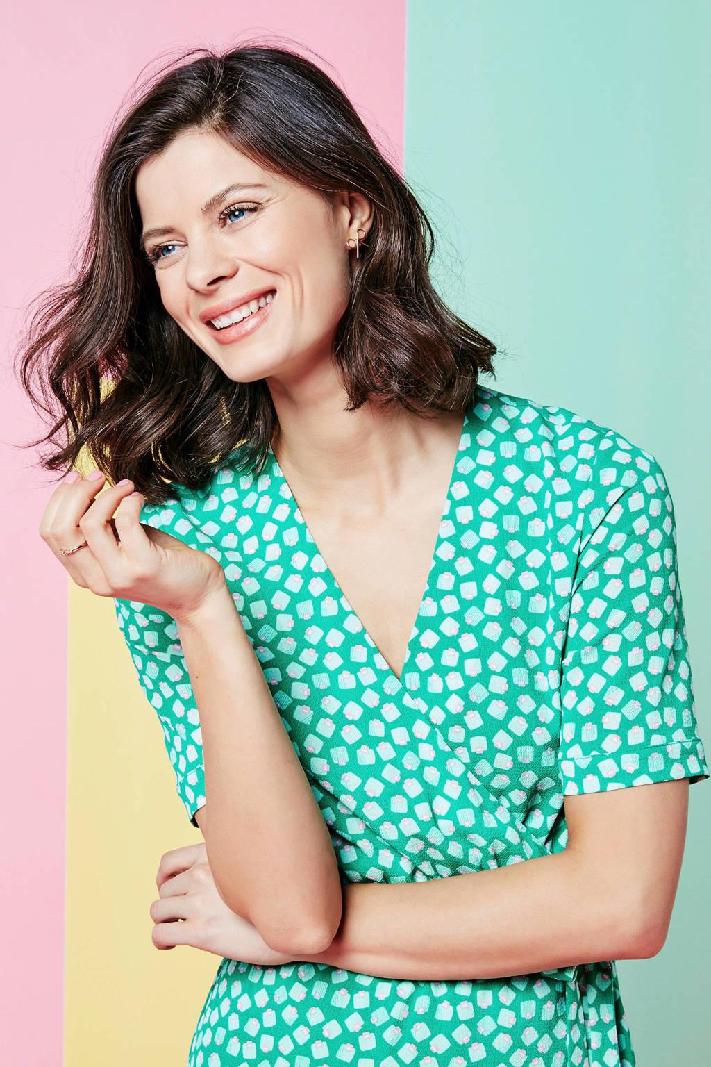 Steps jurk met all-over print, Groen