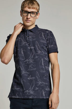 regular fit polo met all over print marin/ wit