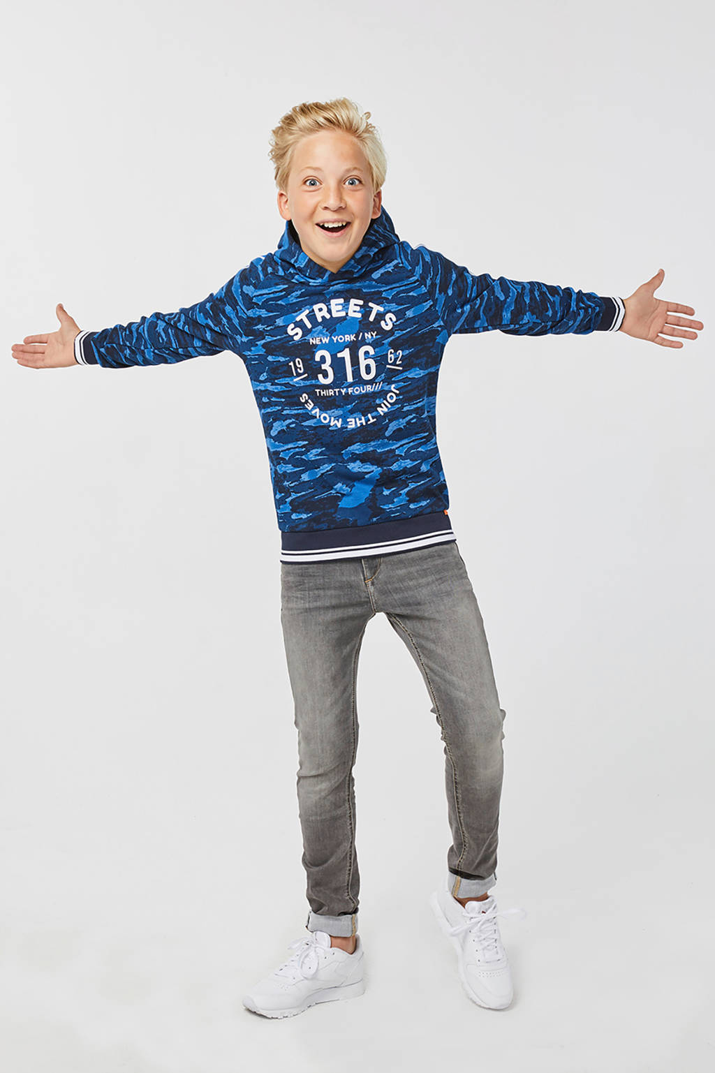WE Fashion hoodie met camouflageprint blauw, Blauw