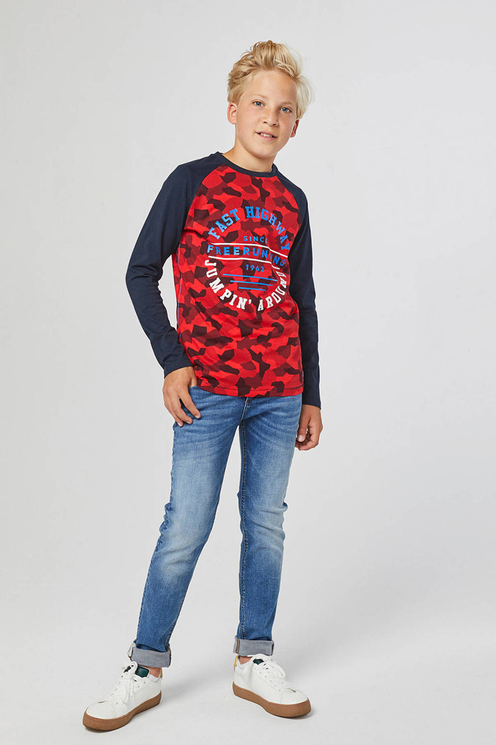 WE Fashion longsleeve met all over print rood/donkerblauw, Rood/donkerblauw