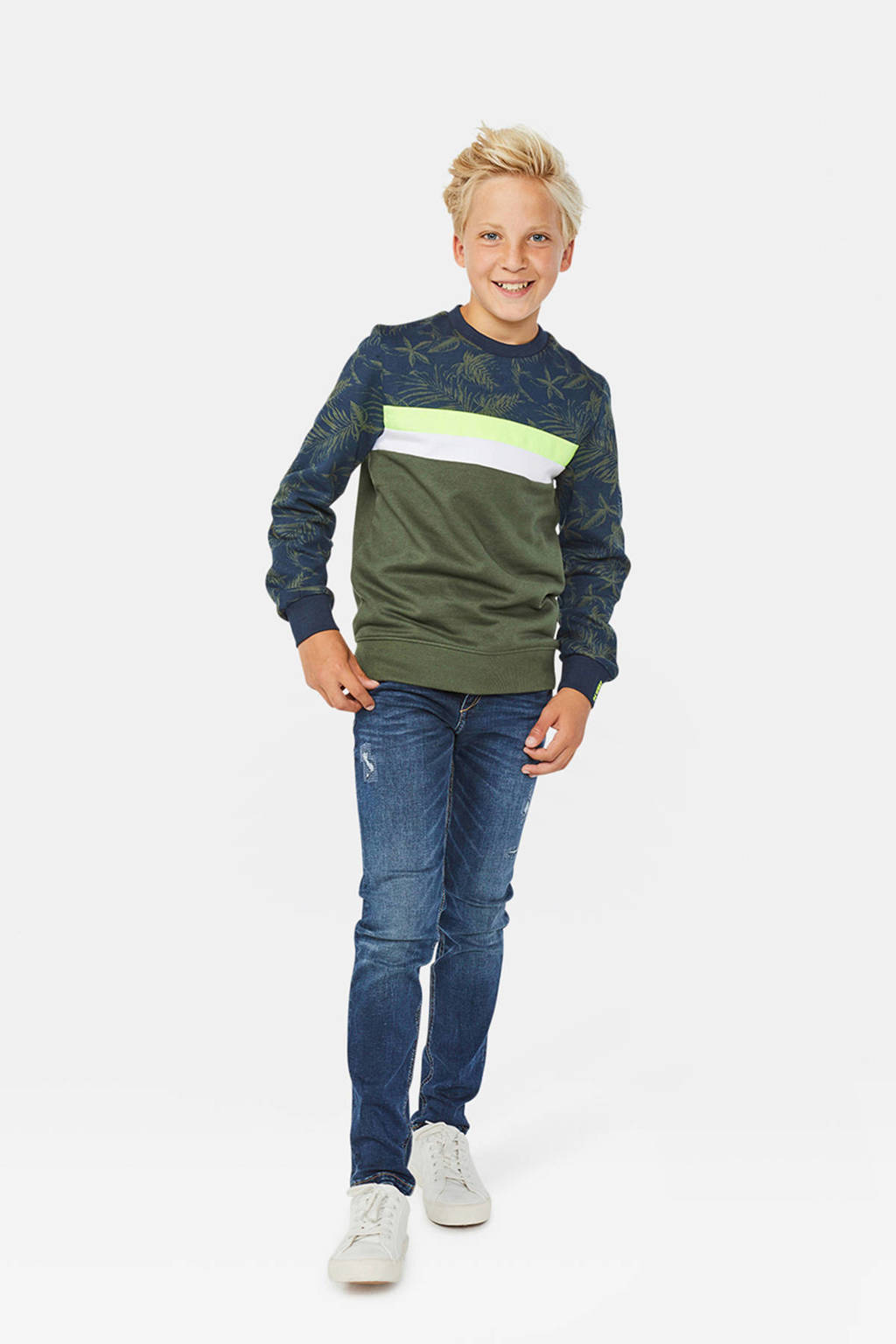 WE Fashion sweater met bladprint kaki, Kaki