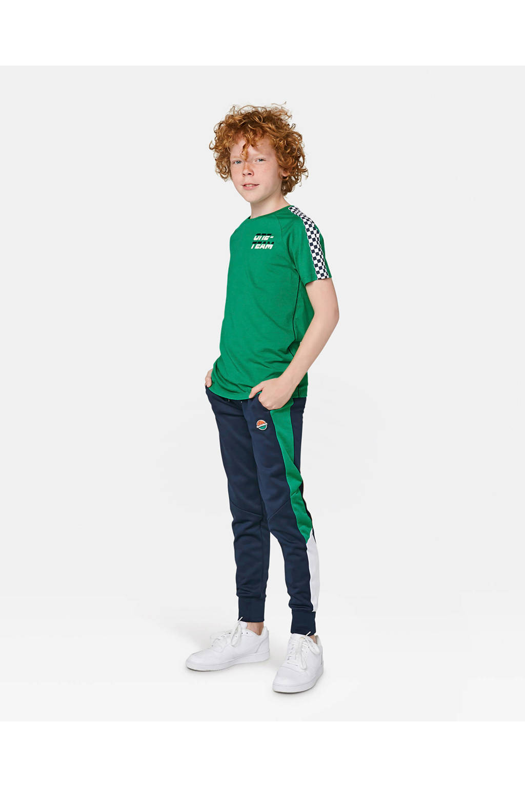 WE Fashion T-shirt met contrastbies zeegroen, Zeegroen
