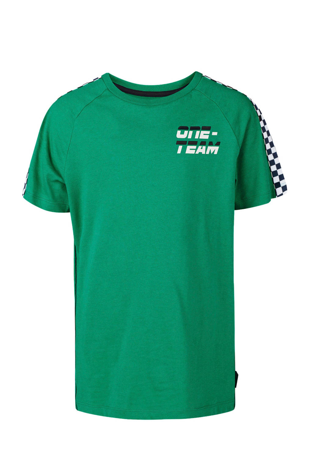 WE Fashion T-shirt met contrastbies zeegroen, Zeegroen