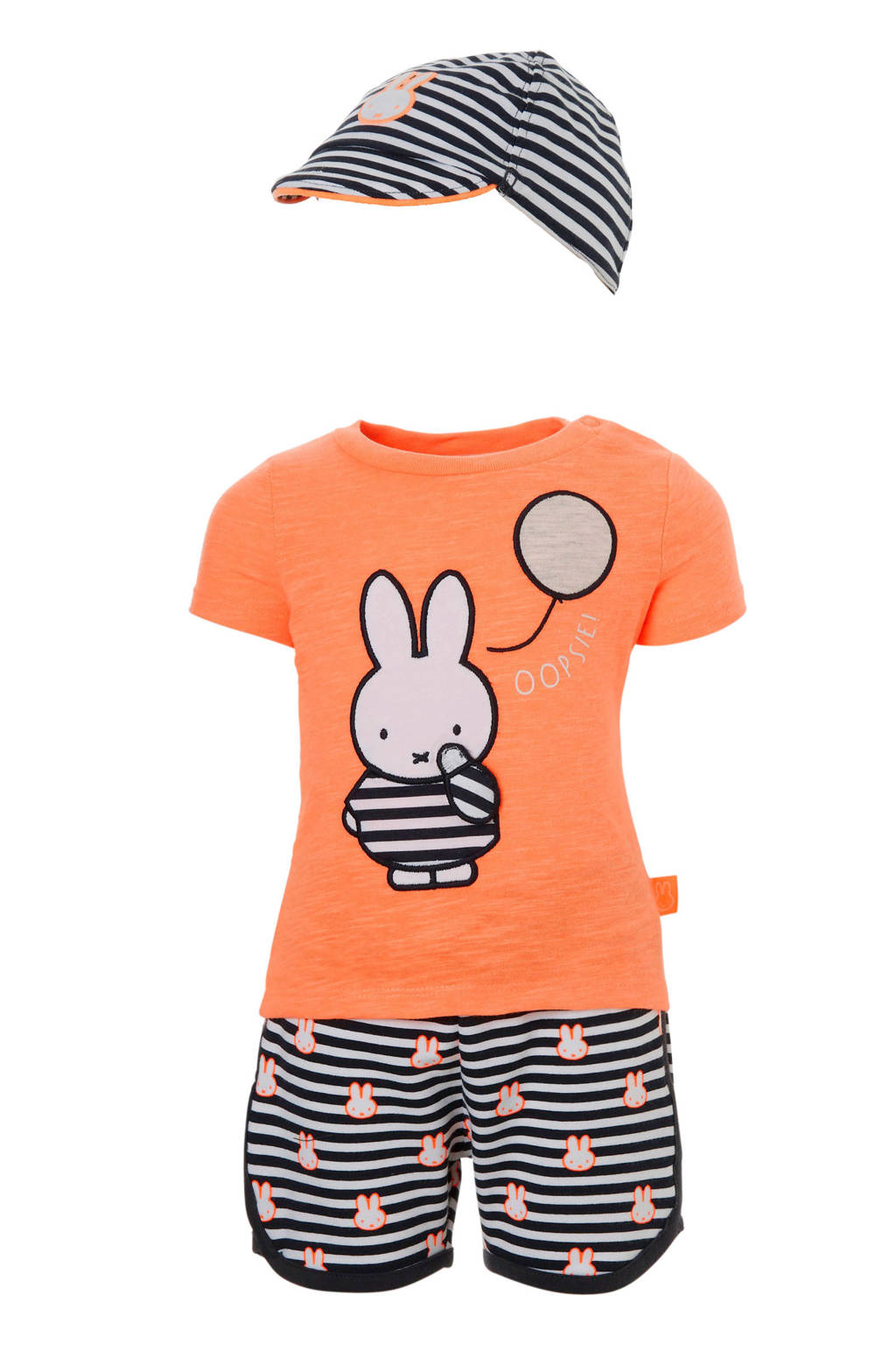 C&A nijntje T-shirt + sweatshort + pet, Oranje/antraciet