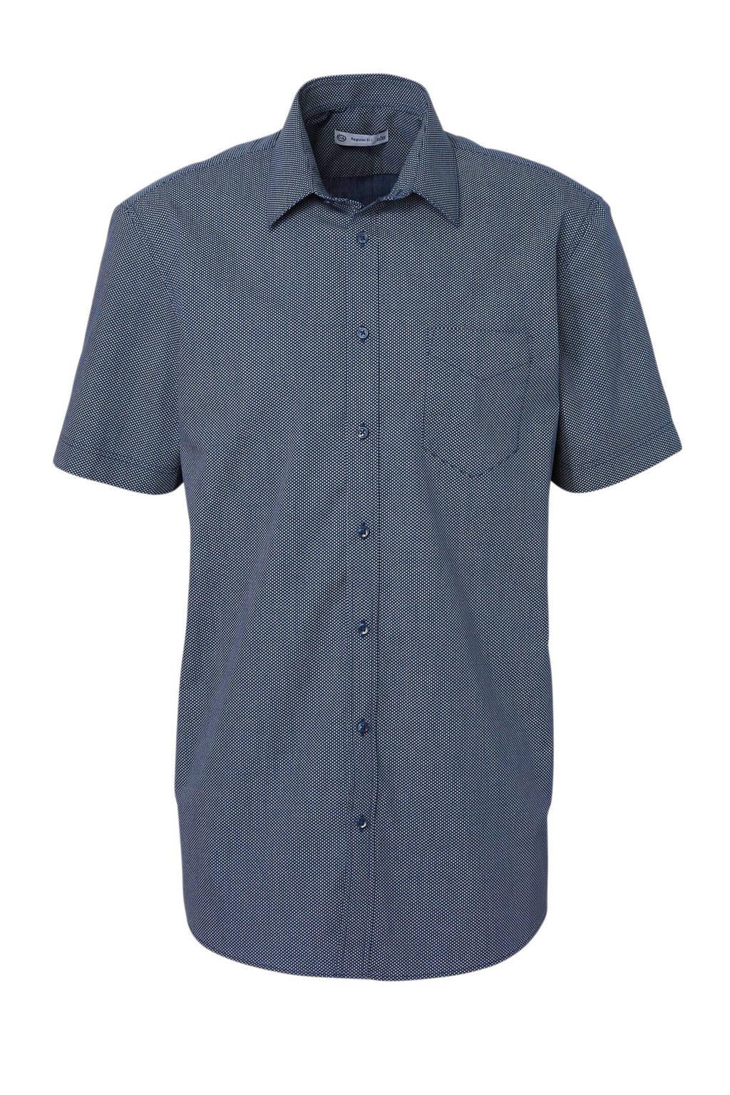 C&A Angelo Litrico regular fit overhemd met print, Donkerblauw