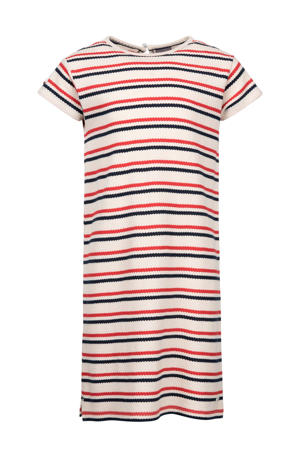gestreepte jersey jurk ecru/rood/blauw