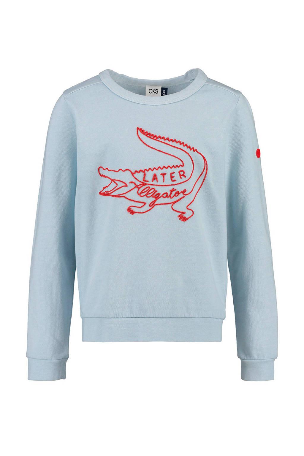 CKS KIDS sweater Bernian met krokodil blauw, Lichtblauw