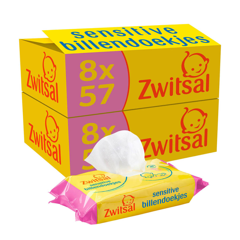 Zwitsal Sensitive 16x57 billendoekjes - baby, 912 stuks / 16 pakjes