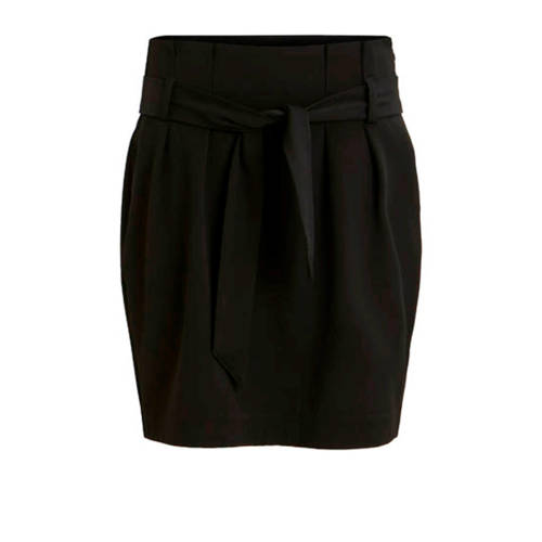 OBJECT rok met plooien en ceintuur zwart