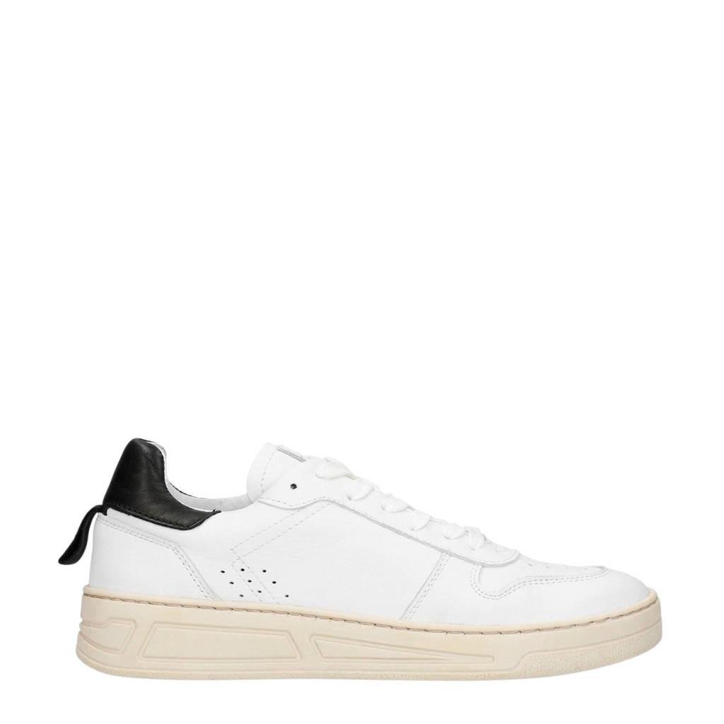 Sacha  leren sneakers wit/zwart, Wit/roze