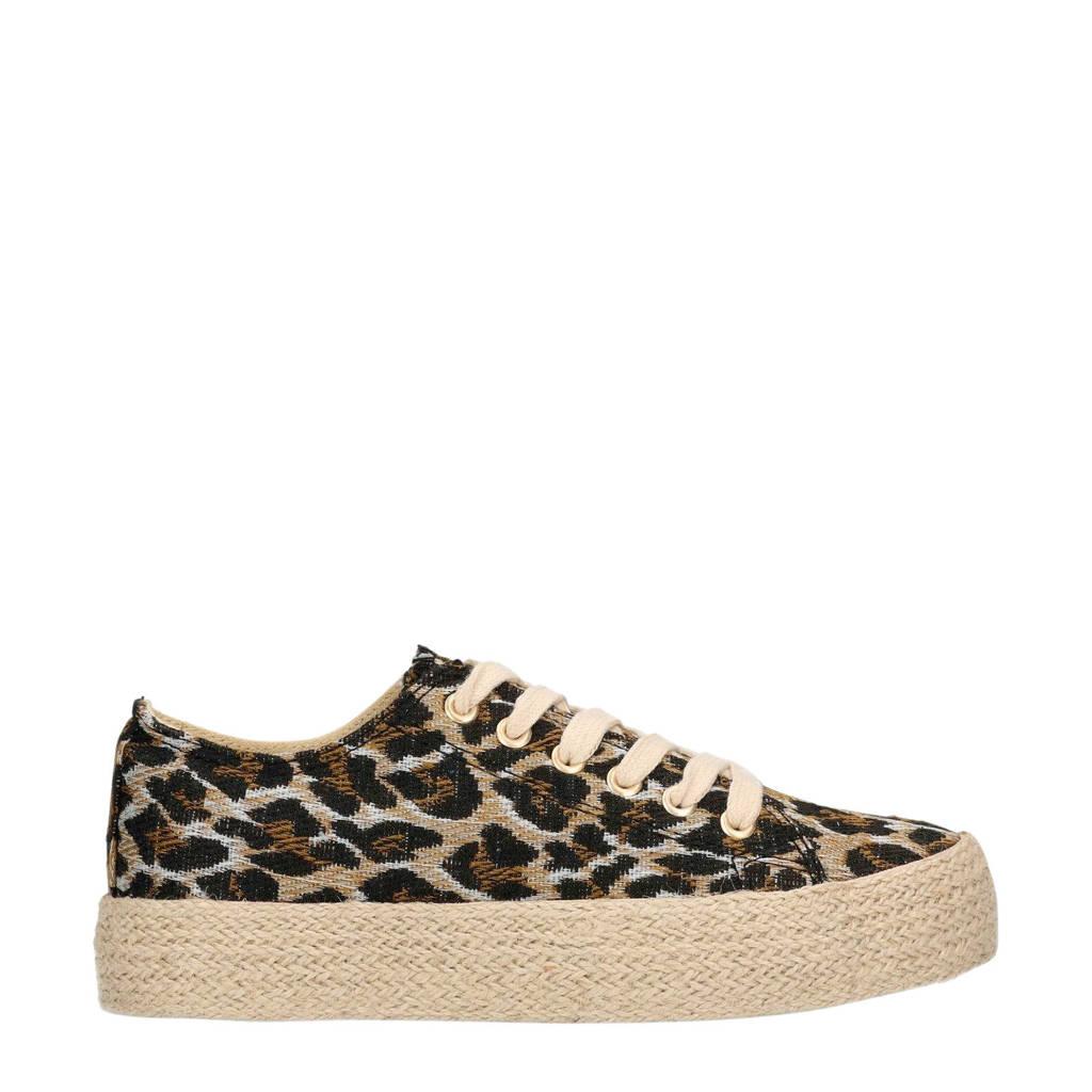 Sacha  sneakers met panterprint, Bruin/zwart