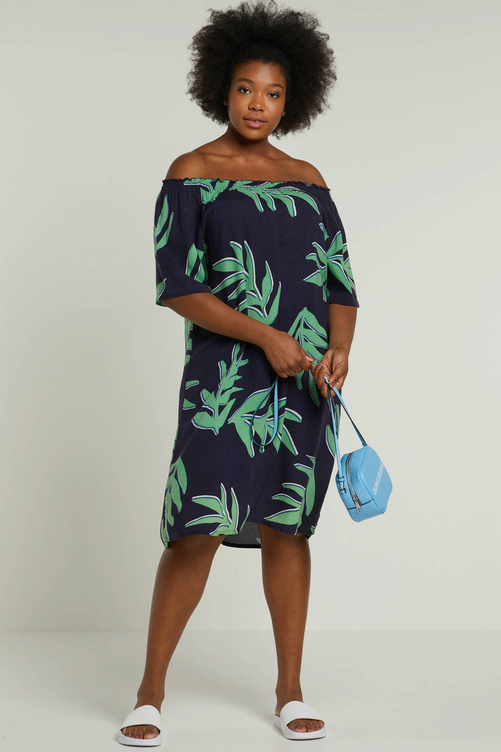 Ciso jurk met bladprint donkerblauw, Donkerblauw/groen