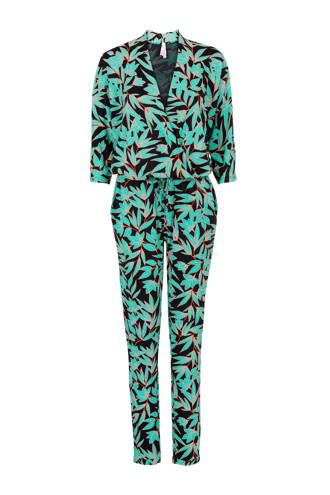 Regulier jumpsuit met bloemen zwart