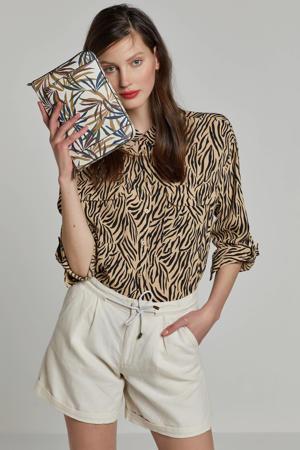 blouse met dierenprint bruin/zwart