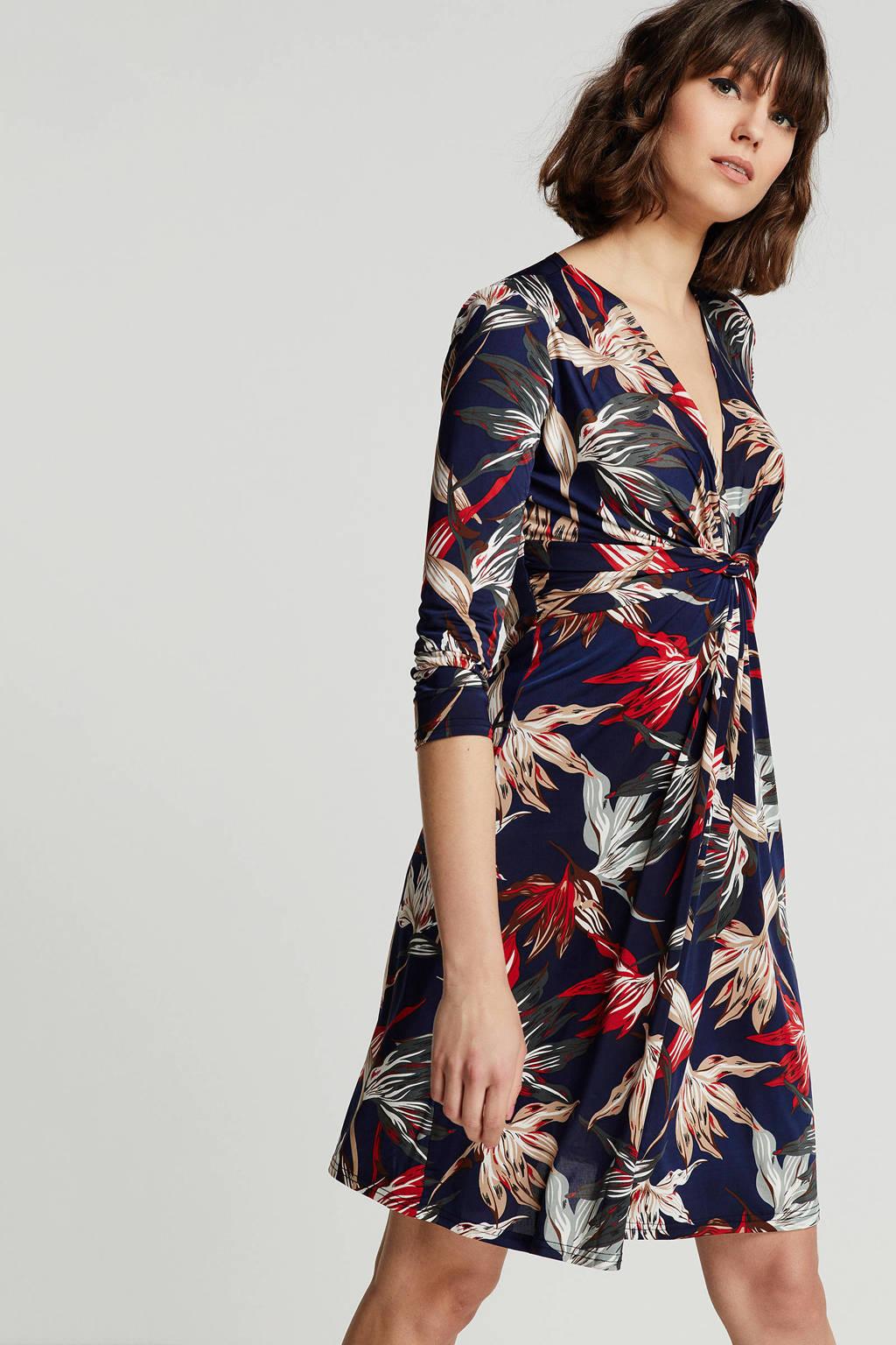 Anna Field gebloemde jurk met knoopdetail donkerblauw, Donkerblauw/rood