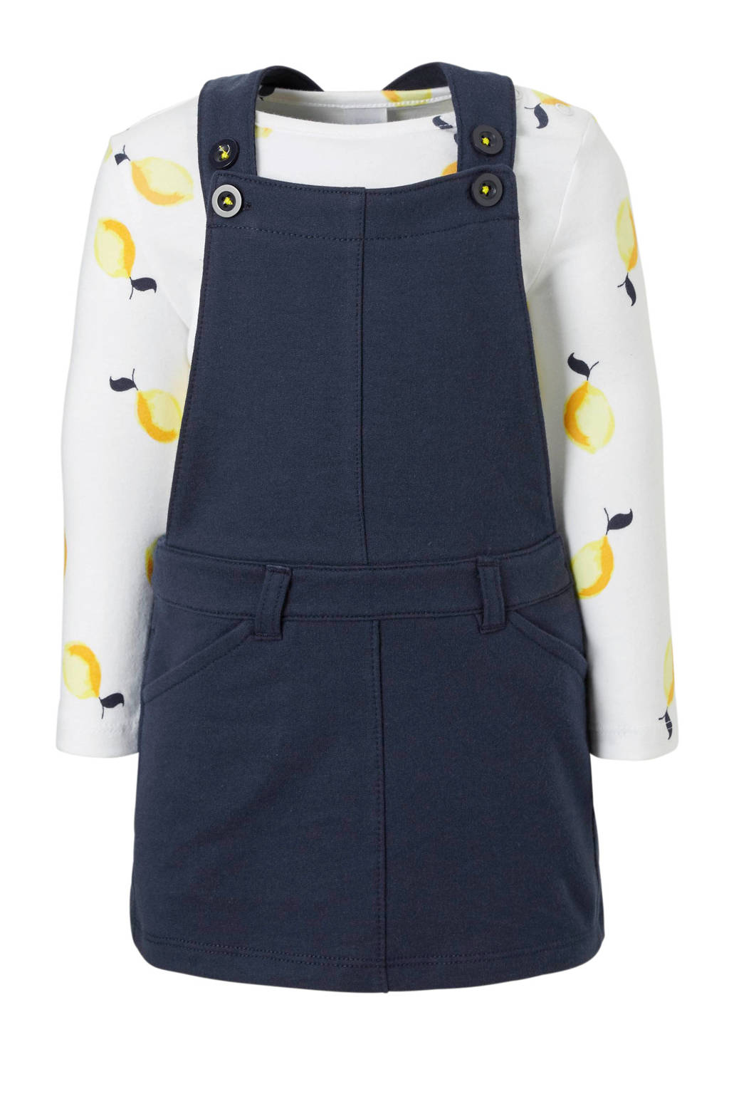 C&A Baby Club longsleeve + sweat overgooier blauw, Donkerblauw/wit/geel
