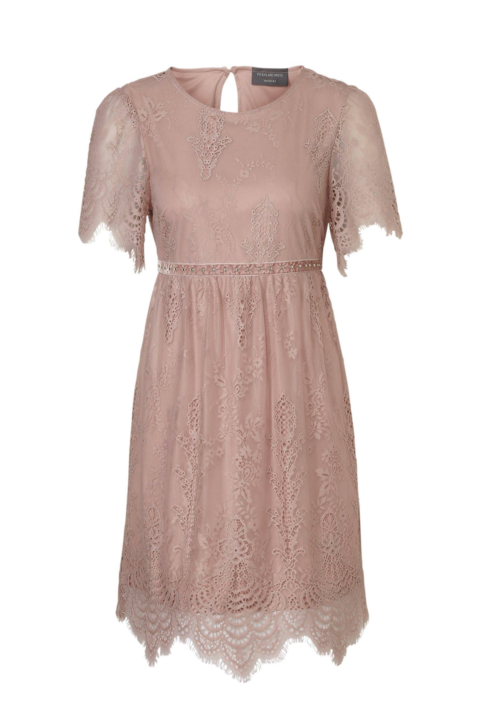 a2bfa64eb2c365 C A Yessica kanten jurk oudroze