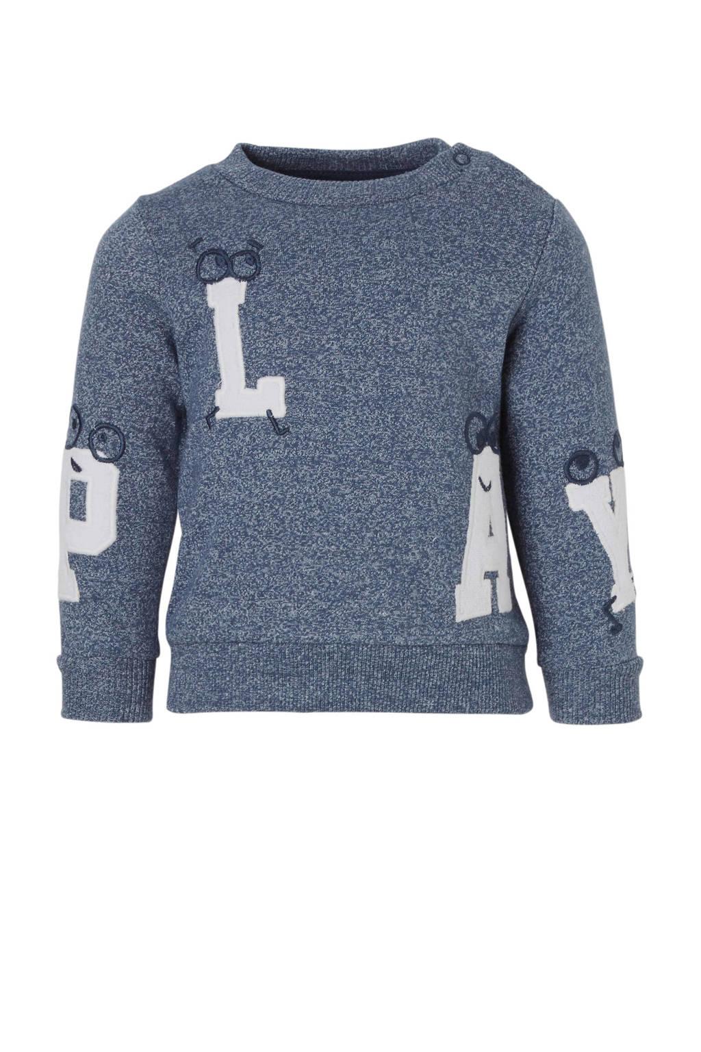 C&A Baby Club sweater met tekst blauw, blauw melange
