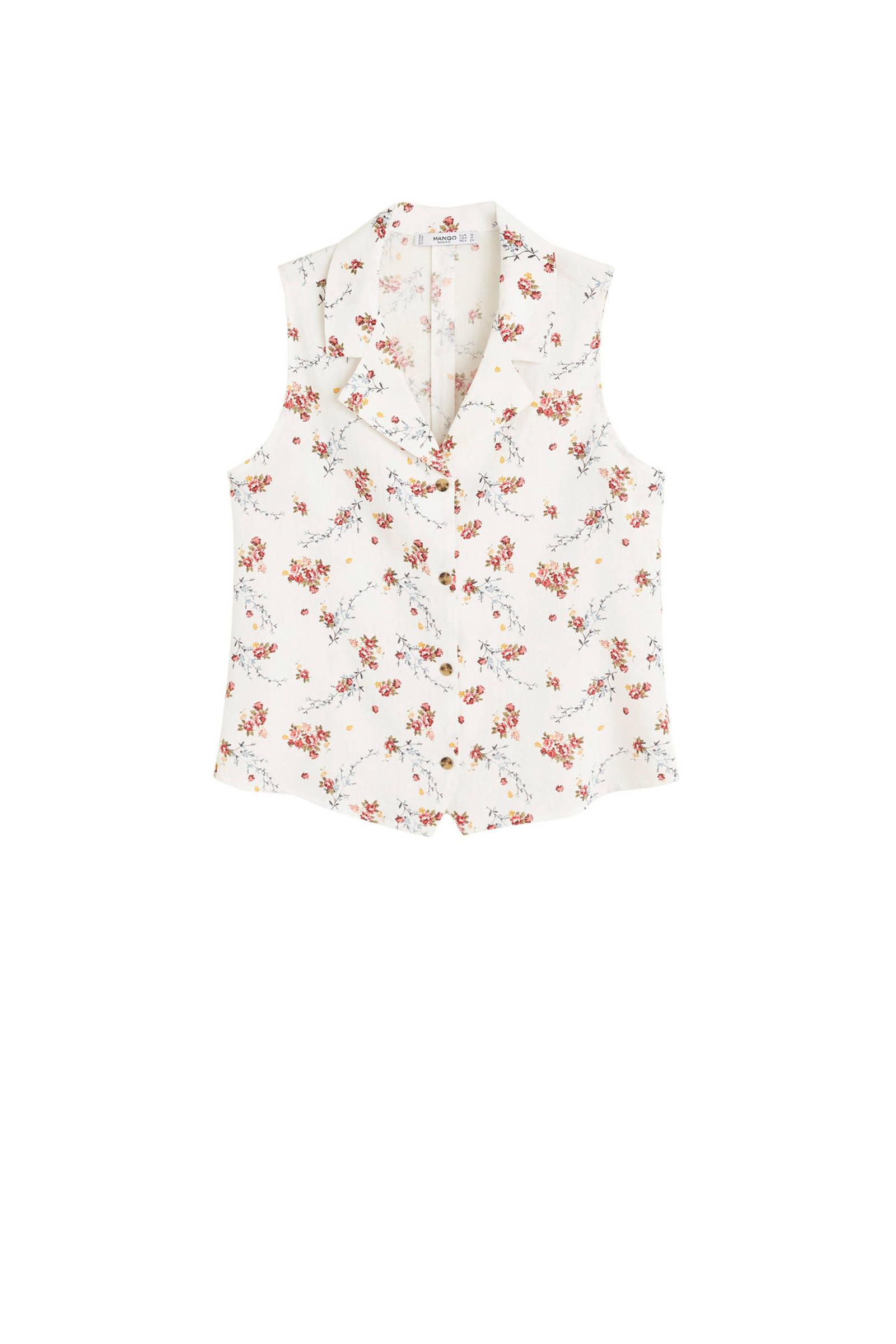linnen gebloemde met blouse gebloemde blouse Mango met Mango gwxPqva0p