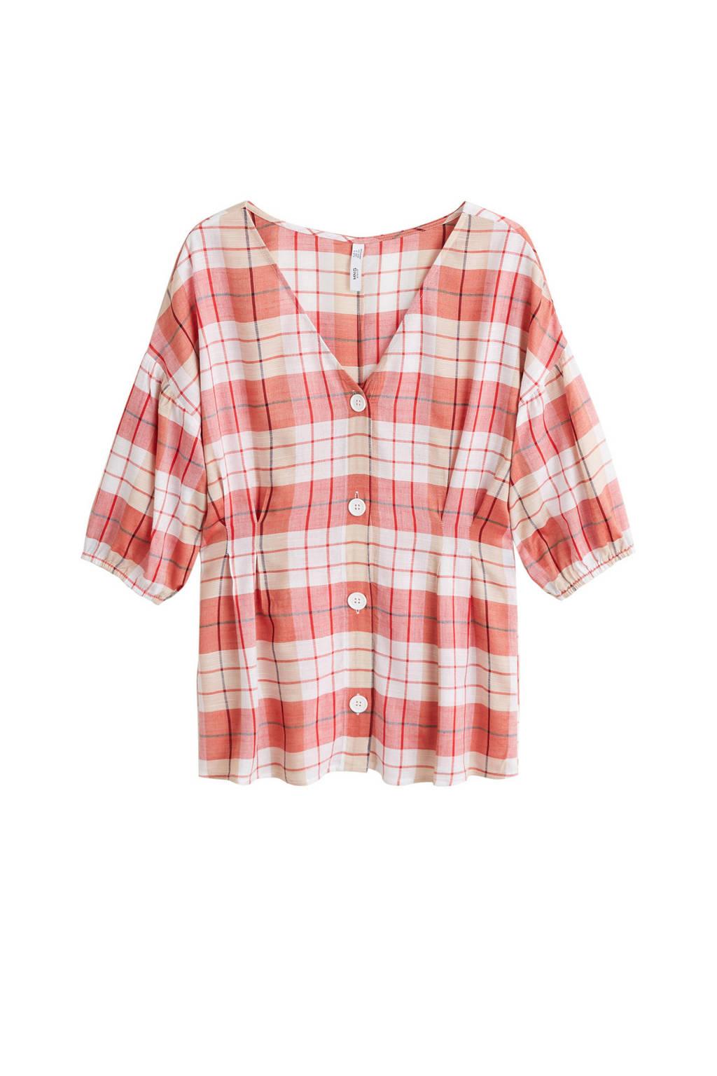 Mango blouse geruit rood, Rood/wit