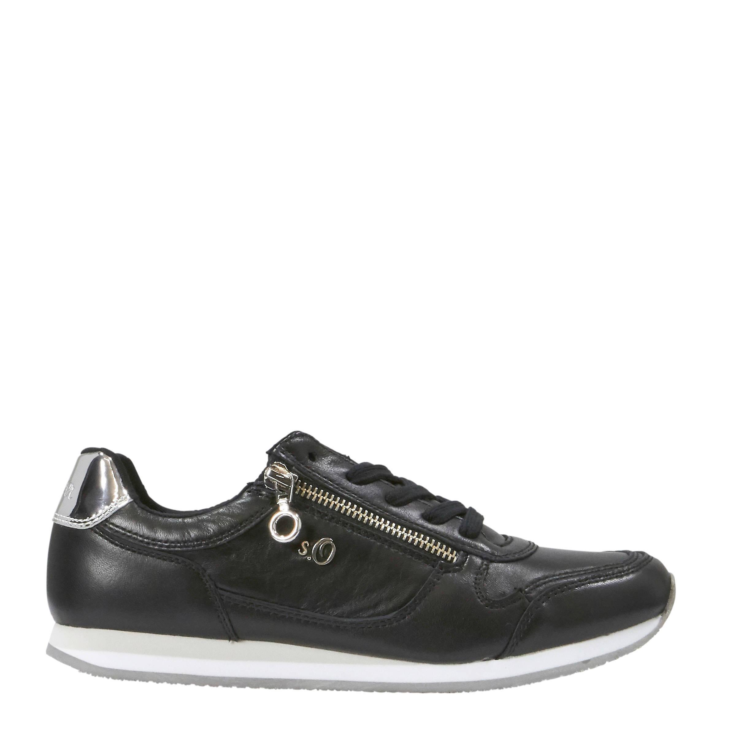 202efbe3fdd s.Oliver leren sneakers zwart | wehkamp