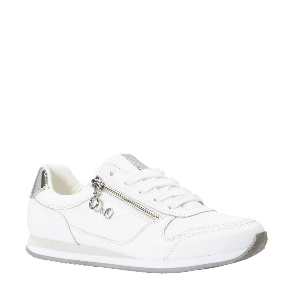 b91699d1e90 s.Oliver leren sneakers wit, Wit/zilver