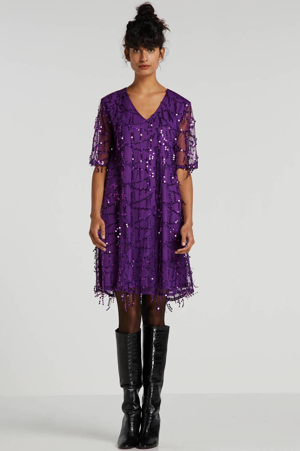 wehkamp mesh jurk met pailletten paars, Paars