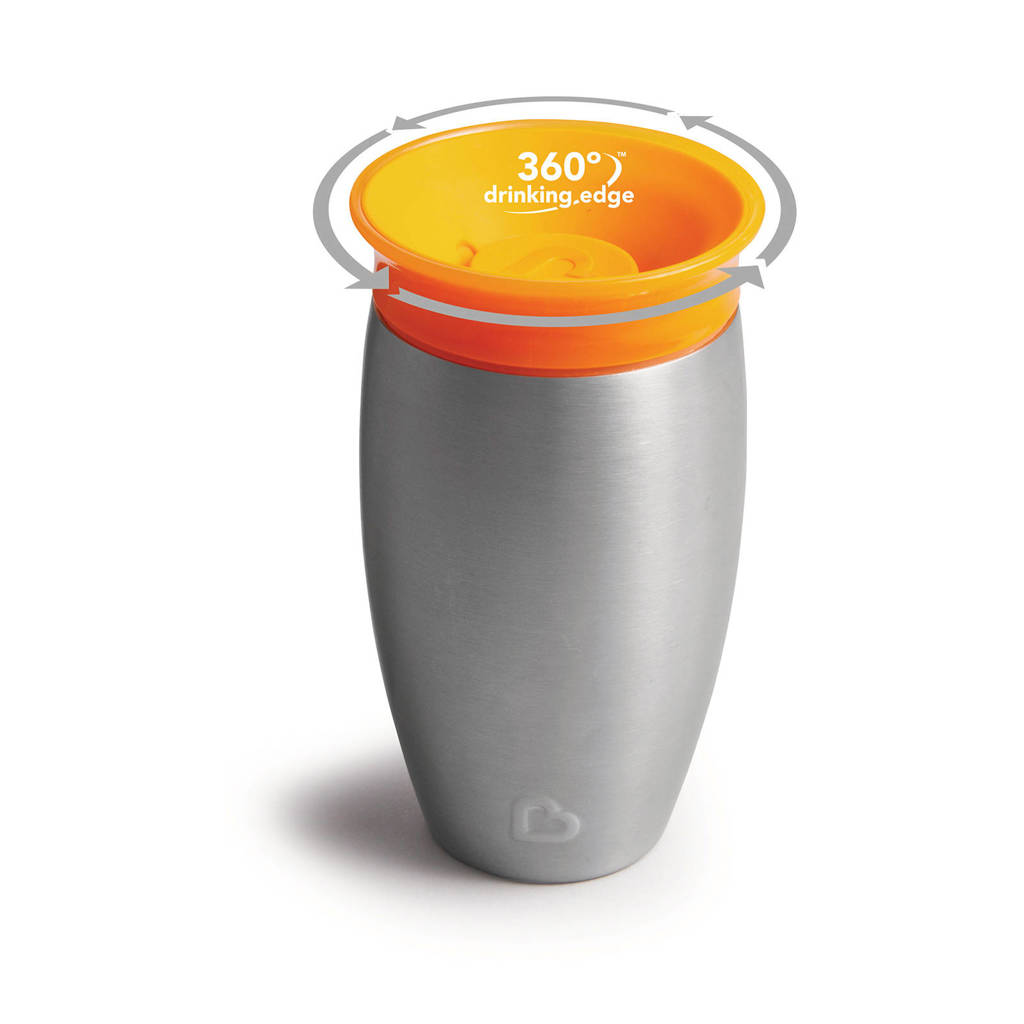 Munchkin Miracle 360° Sippy Cup roestvrij staal 296 ml oranje, Oranje