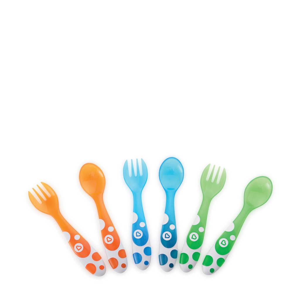 Munchkin meerkleurige vorken en lepels (6 stuks), oranje/blauw/groen