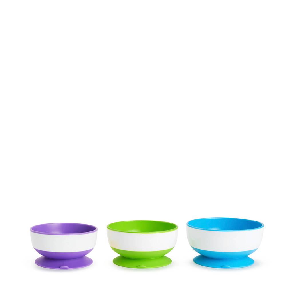 Munchkin kommetjes met zuignappen (3 stuks), Geel/groen/blauw
