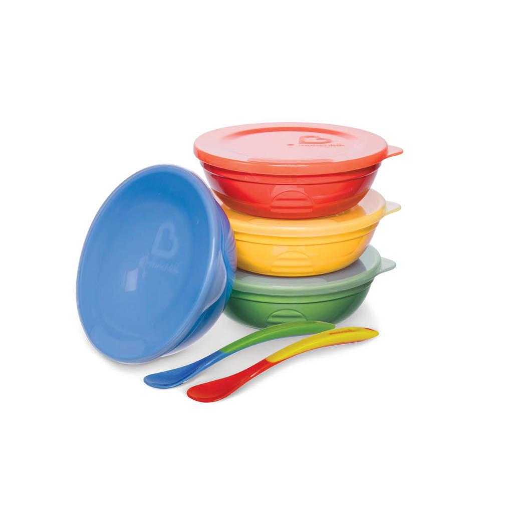 Munchkin schaaltjes en lepeltjes set (10-delig), Blauw/rood/geel/groen
